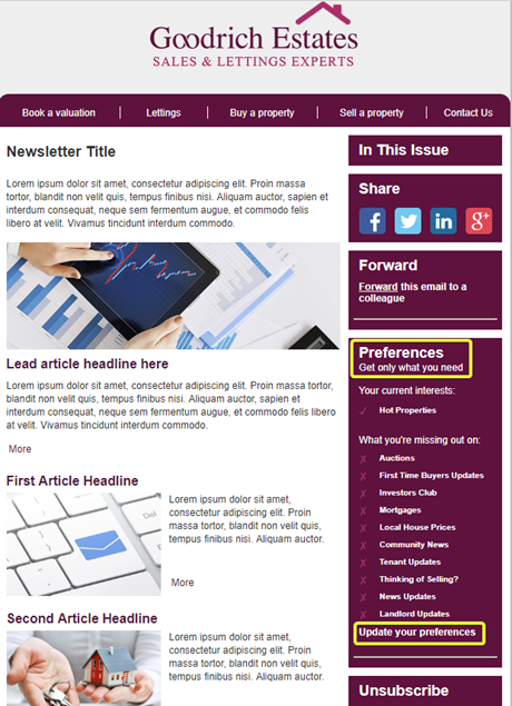 How To Addmanage Your Newsletter Preferences BriefYourMarket - Newsletter article template